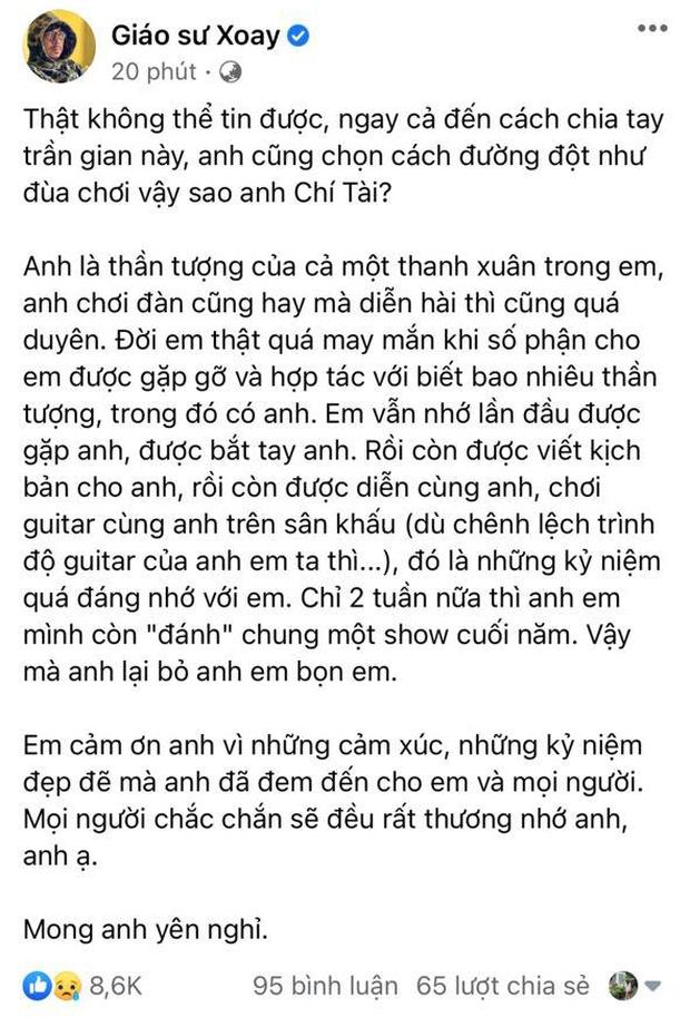Nghệ sĩ Chí Tài đột ngột qua đời, hàng loạt KOL nghẹn ngào gửi lời tạm biệt cả một bầu trời tuổi thơ - Ảnh 2.