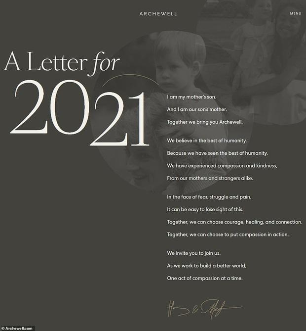Ngay ngày đầu năm mới 2021, nhà Meghan Markle đã làm bùng nổ truyền thông bằng tấm hình Công nương Diana khi ra mắt trang web riêng - Ảnh 1.
