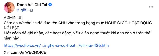 NS Chí Tài vượt Trấn Thành chỉ sau 3 ngày, vươn lên Top 1 đề cử hạng mục NS có hoạt động nổi bật ở WeChoice 2020 - Ảnh 4.