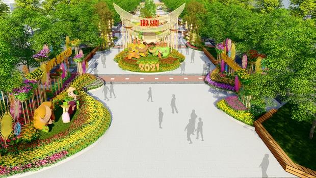 Đường hoa Nguyễn Huệ Tết Tân Sửu 2021 lung linh qua hình ảnh phối cảnh - Ảnh 2.