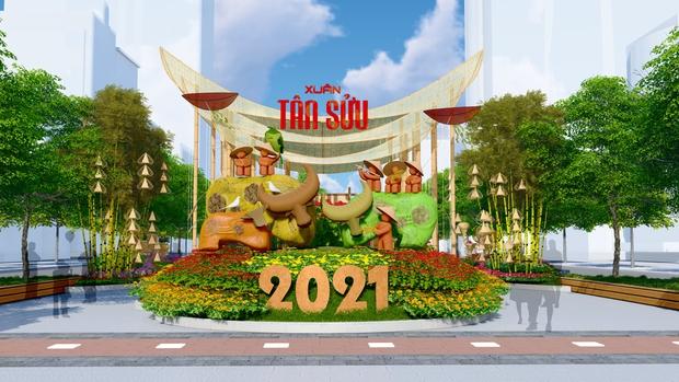 Đường hoa Nguyễn Huệ Tết Tân Sửu 2021 lung linh qua hình ảnh phối cảnh - Ảnh 1.