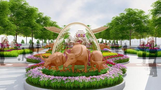 Đường hoa Nguyễn Huệ Tết Tân Sửu 2021 lung linh qua hình ảnh phối cảnh - Ảnh 6.
