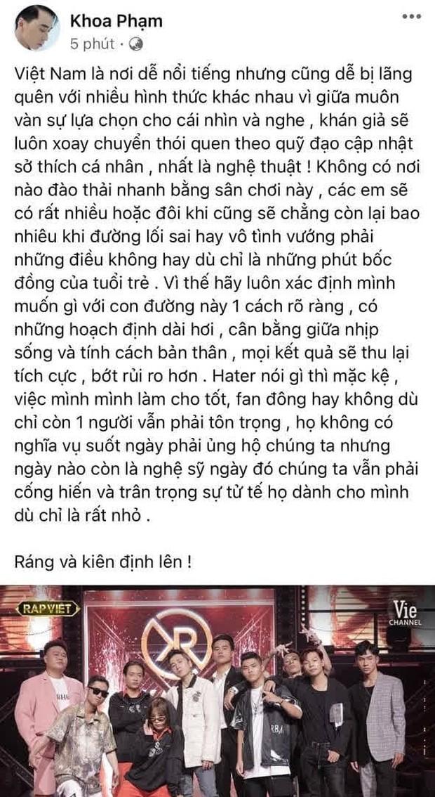 3h sáng, Karik đăng tâm tư gửi đến dàn thí sinh Rap Việt: Hater nói thì mặc kệ, nhưng dù chỉ có 1 fan thì cũng phải trân trọng - Ảnh 1.