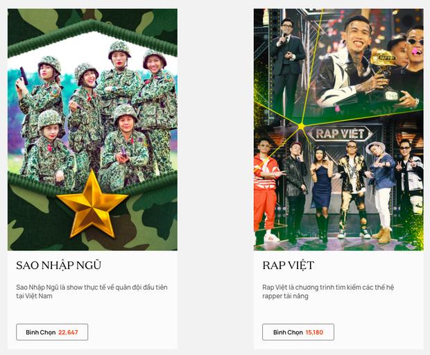 WeChoice Awards 2020: Sau gần 1 ngày bình chọn, Sao Nhập Ngũ bất ngờ vượt mặt Rap Việt - Ảnh 1.