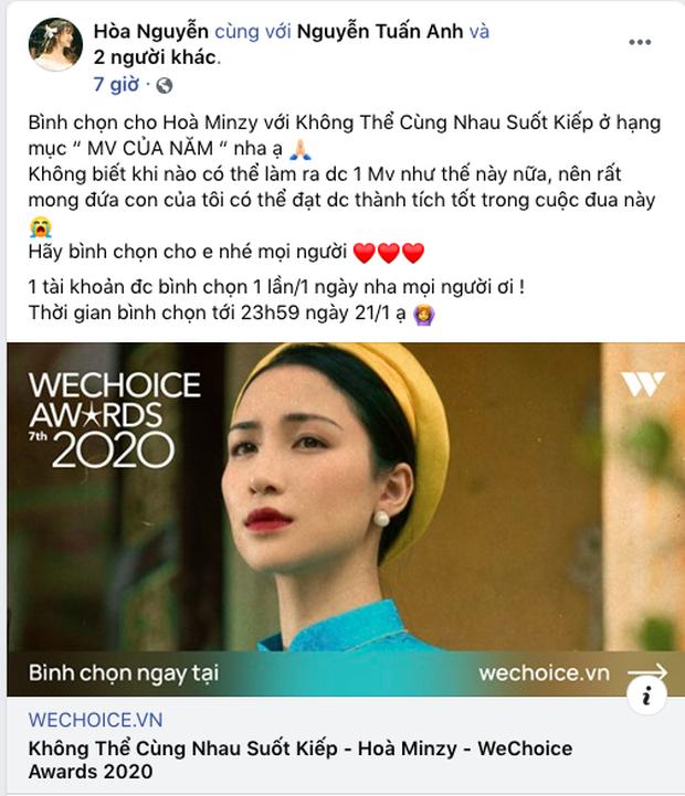 Các nghệ sĩ Việt nô nức kêu gọi bình chọn tại WeChoice Awards 2020, cuộc chiến fandom đang vô cùng gay cấn! - Ảnh 5.