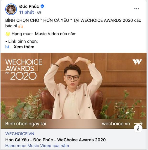 Các nghệ sĩ Việt nô nức kêu gọi bình chọn tại WeChoice Awards 2020, cuộc chiến fandom đang vô cùng gay cấn! - Ảnh 9.