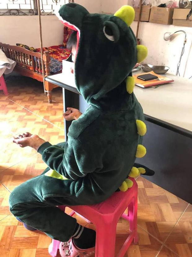 """Mặc bộ quần áo """"khủng long bạo chúa"""" chơi cùng nhóm bạn, bé trai bị con chó quen từ lâu đuổi cắn, phải khâu 5 mũi - Ảnh 1."""
