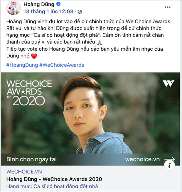 Các nghệ sĩ Việt nô nức kêu gọi bình chọn tại WeChoice Awards 2020, cuộc chiến fandom đang vô cùng gay cấn! - Ảnh 11.