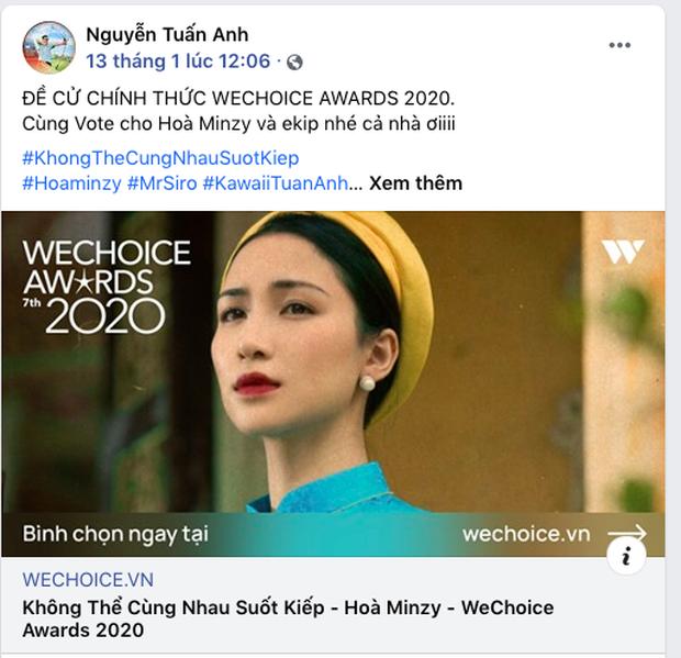 Các nghệ sĩ Việt nô nức kêu gọi bình chọn tại WeChoice Awards 2020, cuộc chiến fandom đang vô cùng gay cấn! - Ảnh 6.