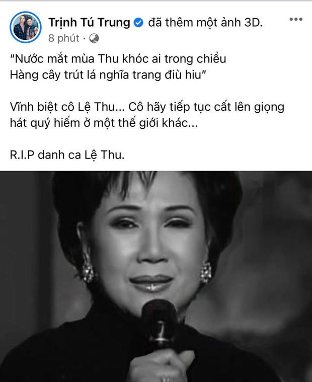 Ca sĩ Thanh Thảo, Quách Tuấn Du và dàn sao Vbiz tiếc thương khi danh ca Lệ Thu qua đời vì Covid-19 - Ảnh 5.