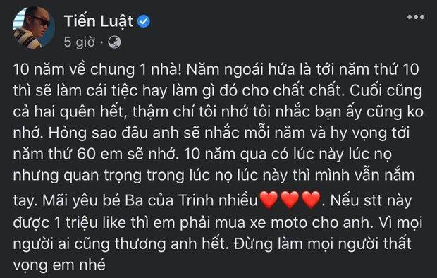 Tiến Luật viết thư kỷ niệm 10 năm ngày cưới cho bà xã Thu Trang, câu chốt hạ khiến netizen ngã ngửa - Ảnh 2.