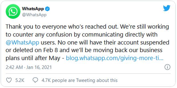 Người dùng ồ ạt bỏ đi, WhatsApp tạm hoãn việc chia sẻ dữ liệu với Facebook - Ảnh 1.