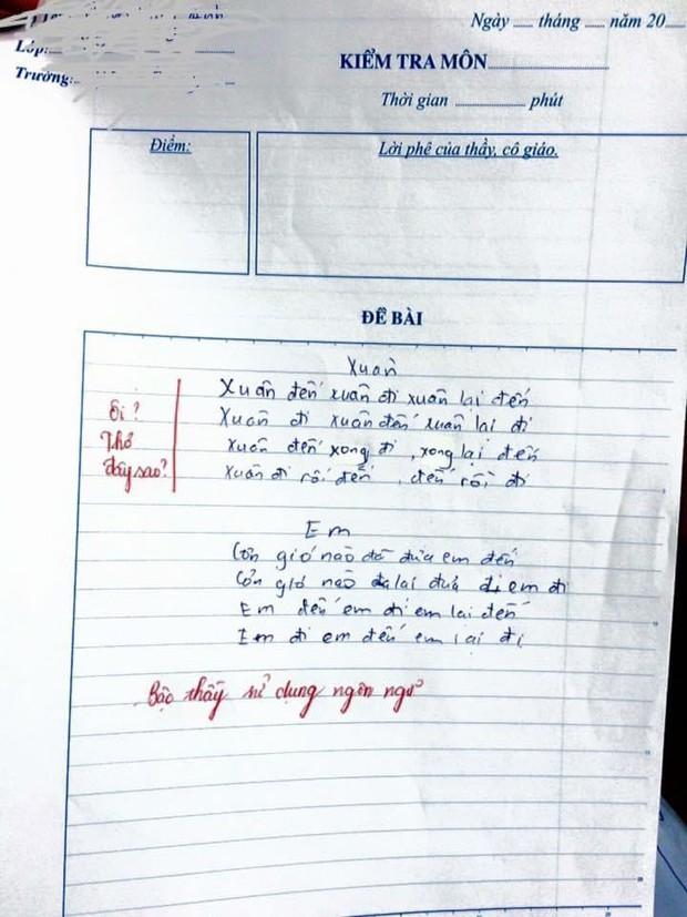 Học trò tức cảnh sinh tình, sáng tác thơ trong vòng 5 phút, giáo viên thẳng tay phê: Bậc thầy ngôn ngữ! - Ảnh 1.
