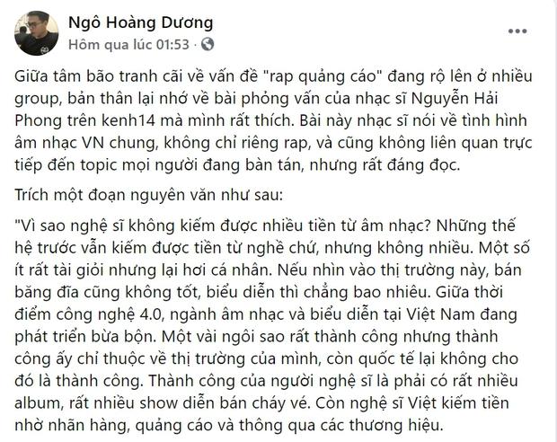 Netizen tranh cãi nổ lửa về vấn đề rap quảng cáo sau bài đăng của MCK, O Buồn và những người trong giới Underground - Ảnh 8.