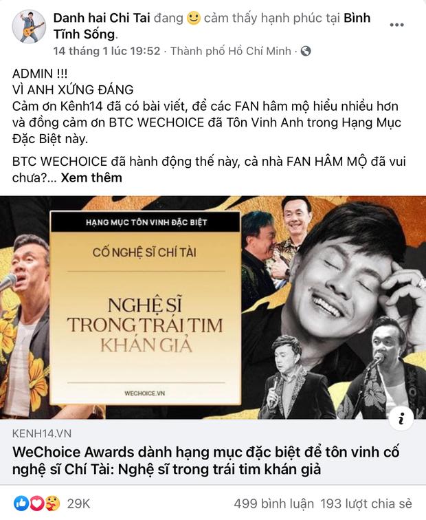 Vbiz rần rần vì WeChoice Awards 2020: Sao Việt đăng đầy newsfeed, fanpage NS Chí Tài chia sẻ đầy xúc động, Binz - Hoà Minzy gấp rút kêu gọi - Ảnh 2.