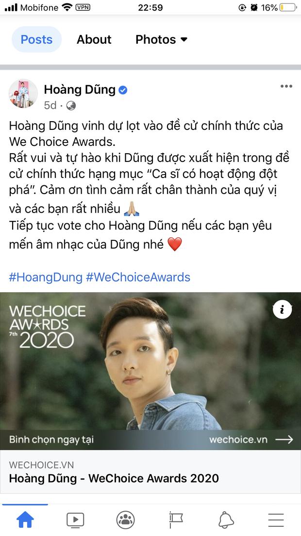 Vbiz rần rần vì WeChoice Awards 2020: Sao Việt đăng đầy newsfeed, fanpage NS Chí Tài chia sẻ đầy xúc động, Binz - Hoà Minzy gấp rút kêu gọi - Ảnh 10.