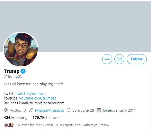 Twitter của tuyển thủ eSports bỗng nhận lượng follower khủng vì fan cứ ngỡ là nick mới của Tổng thống Donald Trump - Ảnh 1.
