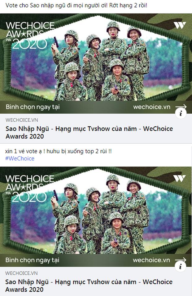 Rap Việt lấy lại vị trí dẫn đầu, fan Sao Nhập Ngũ lo lắng kêu gọi bình chọn tại WeChoice Awards 2020 - Ảnh 3.