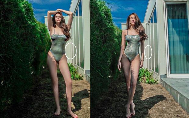 Hơn 2 tháng sau sinh, Hà Hồ đã tự tin diện monokini xẻ sâu khoe 3 vòng bốc lửa nhưng netizen lập tức phát hiện điểm bất thường ở cửa kính - Ảnh 2.