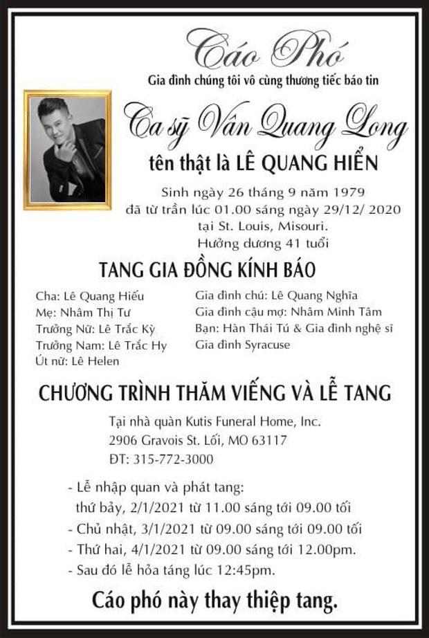 Gia đình đồng ý livestream tang lễ Vân Quang Long tại Mỹ vì 1 lý do, cậu của cố NS nén đau thương không thành lời - Ảnh 7.