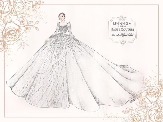 Váy cưới của Khánh Linh tại Hà Tĩnh: Được làm từ 30.000 viên đá Swarovski, chú rể là người lên ý tưởng - Ảnh 2.