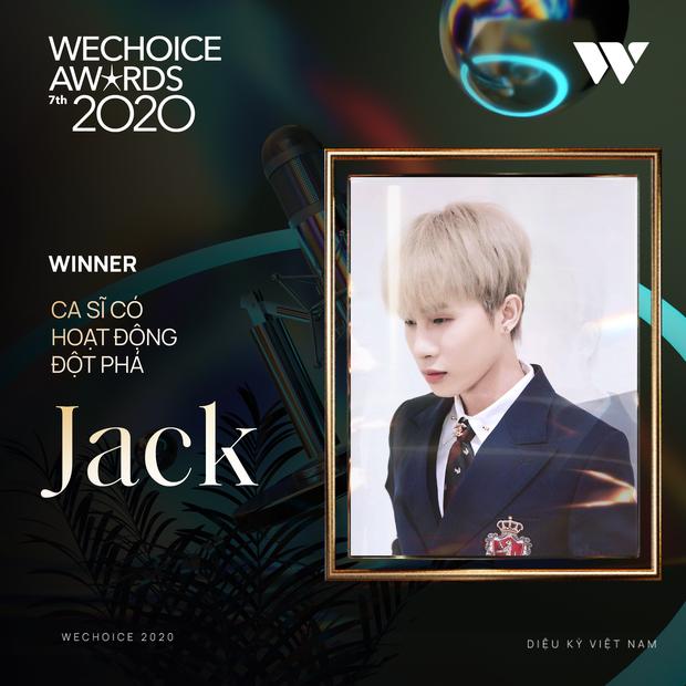 Jack giành giải thưởng Ca sĩ có hoạt động đột phá khi có màn đổi ngôi ngoạn mục tại WeChoice Awards 2020 - Ảnh 2.