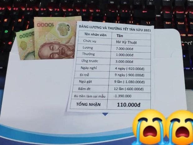 Thực hư phong bì tiền của thanh niên tên Tân nổi rần rần khắp MXH, Tết đến nơi mà cả lương và thưởng chỉ có... 110.000 đồng - Ảnh 1.
