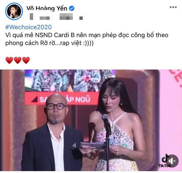 Võ Hoàng Yến tiết lộ lý do đọc tên Rap Việt nhấn nhá đầy hài hước tại Gala WeChoice Awards 2020 - Ảnh 4.