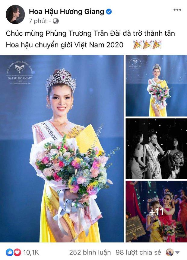 Động thái đầu tiên của Hương Giang sau khi Trân Đài chính thức đăng quang Tân Đại sứ Hoàn Mỹ 2020! - Ảnh 2.