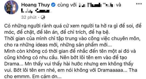 Hoàng Thùy đáp trả gay gắt khi bất ngờ bị nhắc trên show thực tế: Bớt lôi tên em vào để drama? - Ảnh 1.
