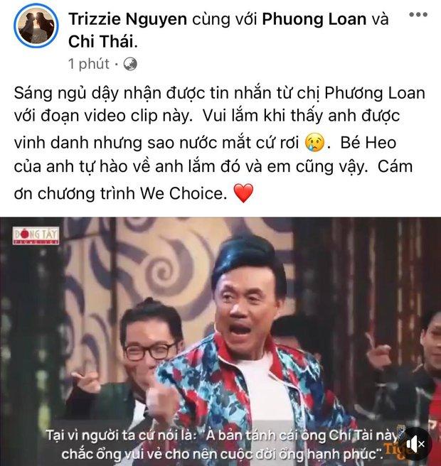 Bạn thân tiết lộ phản ứng của ca sĩ Phương Loan khi xem clip tri ân cố nghệ sĩ Chí Tài tại Gala WeChoice Awards 2020 - Ảnh 2.