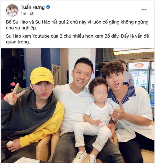 Tuấn Hưng bất ngờ đăng ảnh ủng hộ sự nghiệp Sơn Tùng M-TP và Isaac, tiết lộ con trai xem YouTube 2 chú còn nhiều hơn xem bố - Ảnh 1.