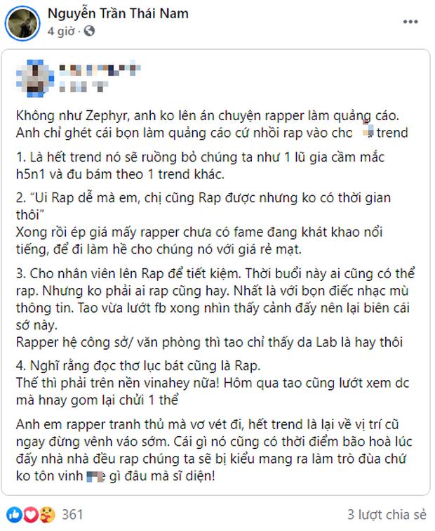 Rapper Gonzo đồng tình với dòng trạng thái cực gắt về rapper làm nhạc quảng cáo, khẳng định hết trend sẽ bị ruồng bỏ? - Ảnh 1.