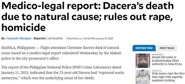 Công bố báo cáo pháp y chính thức về nguyên nhân gây ra cái chết của Á hậu Philippines trong bữa tiệc giao thừa cùng 11 người đàn ông - Ảnh 2.