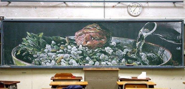 """Dân mạng trầm trồ trước tài năng vẽ của học sinh Nhật Bản: Chỉ phấn trắng, bảng xanh cũng tạo nên những """"tuyệt phẩm"""" thế này đây! - Ảnh 6."""