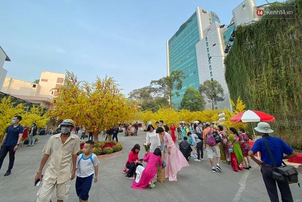 Bà đồ xinh đẹp mặc áo dài, viết thư pháp tại đường hoa mai ở Sài Gòn thu hút nhiều người - Ảnh 13.