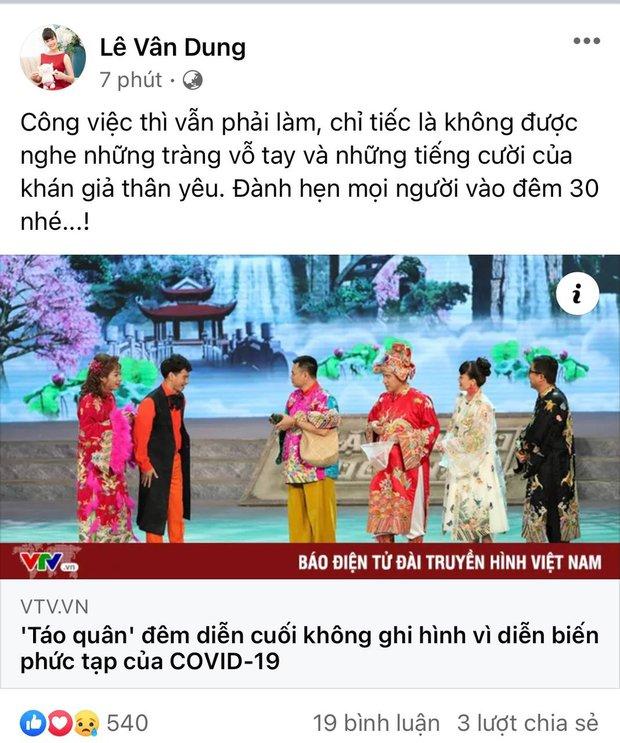 NS Vân Dung đăng status nói về thông tin đêm diễn cuối của Táo Quân 2021 ghi hình không có khán giả vì Covid-19 - Ảnh 2.