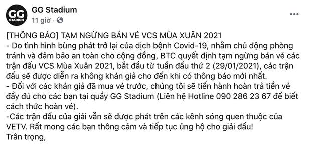 VCS mùa Xuân 2021 chính thức thi đấu không khán giả vì Covid-19 - Ảnh 1.