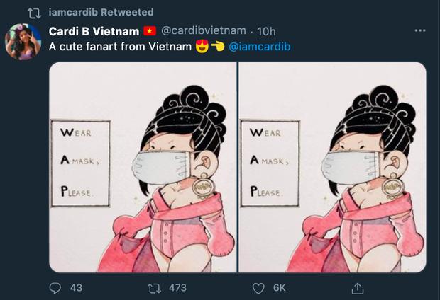 Fan Việt vẽ tranh mang thông điệp chống dịch COVID-19, ai ngờ rapper quyền lực Cardi B retweet luôn trên Twitter 16,7 triệu follower - Ảnh 2.