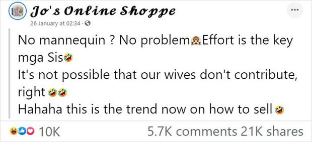 Vợ lợi dụng chồng ngủ để bắt làm người mẫu, mặc từ váy đầm đến crop top để đăng bán online rồi viral khắp MXH - Ảnh 1.