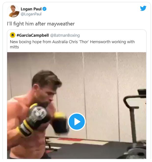 Sau trận đại chiến với Floyd Mayweather, YouTuber Logan Paul tính xử đẹp Thần sấm Chris Hemsworth - Ảnh 1.