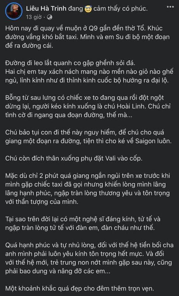MC Liêu Hà Trinh kể chuyện tay xách đồ nặng và tình cờ gặp NS Hoài Linh, hé lộ tính cách thật của nam danh hài - Ảnh 2.