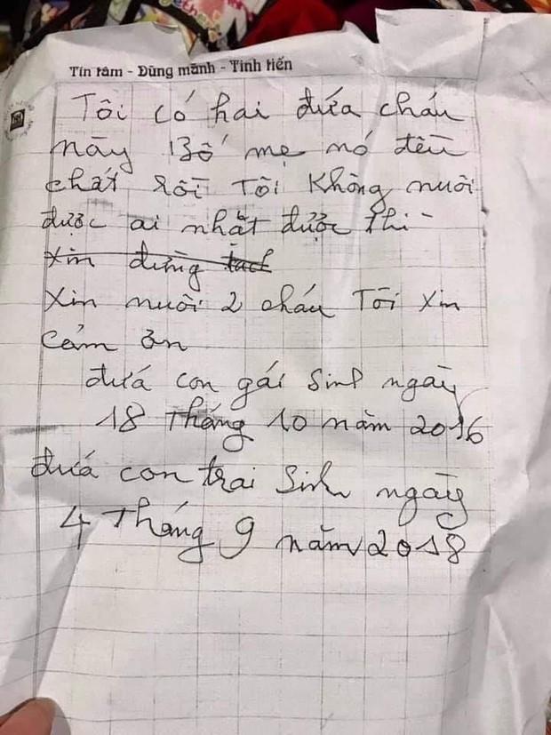 Hà Nội: 2 cháu nhỏ 3 và 5 tuổi bị bỏ rơi giữa thời tiết 10 độ kèm bức thư bố mẹ chết rồi, ai nhặt được xin nuôi hộ - Ảnh 2.