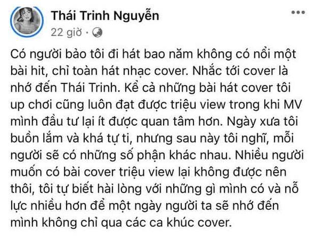 Bị chỉ trích bao năm đi hát không có hit chỉ toàn cover, Thái Trinh khẳng định: Nhiều người muốn có bản cover triệu view mà không được - Ảnh 1.