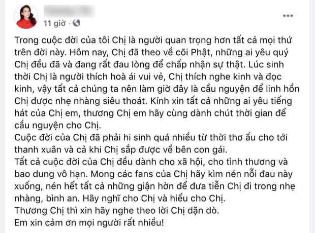 Em trai ruột ca sĩ Phi Nhung mong 1 điều để vong linh chị gái ra đi thanh thản - Ảnh 2.