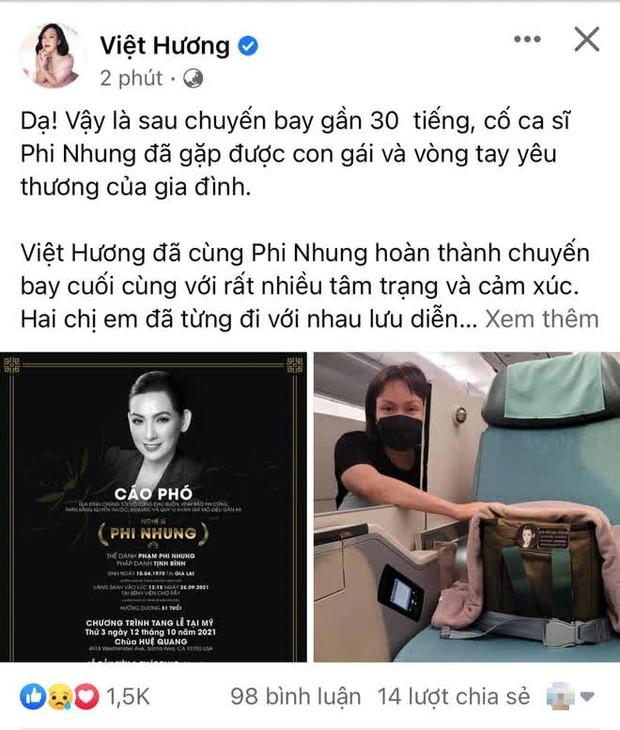 Việt Hương kể lại 30 tiếng đưa ca sĩ Phi Nhung về Mỹ, hình ảnh nâng niu tro cốt cố đồng nghiệp gây xúc động mạnh  - Ảnh 2.
