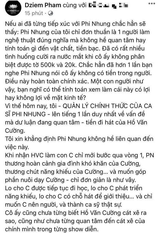 Quản lý cố ca sĩ Phi Nhung lên tiếng chuyện cát xê của Hồ Văn Cường: Tôi hoàn toàn chịu trách nhiệm và xử lý! - Ảnh 2.