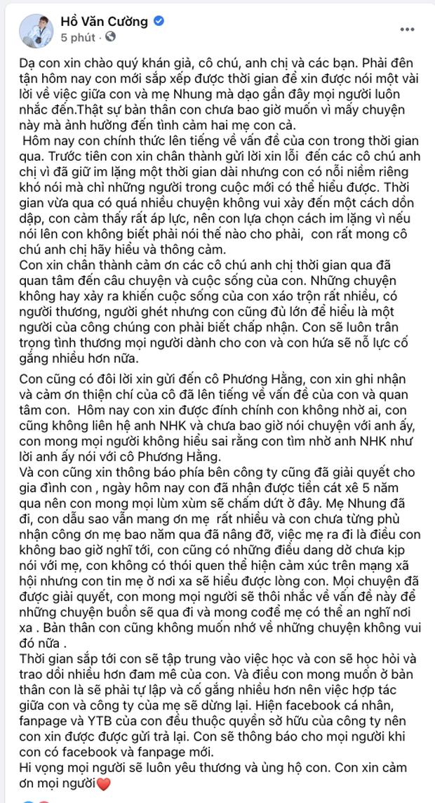 Hồ Văn Cường lên tiếng xin lỗi, làm rõ mối quan hệ với bà Phương Hằng và Cậu IT  Nhâm Hoàng Khang - Ảnh 2.