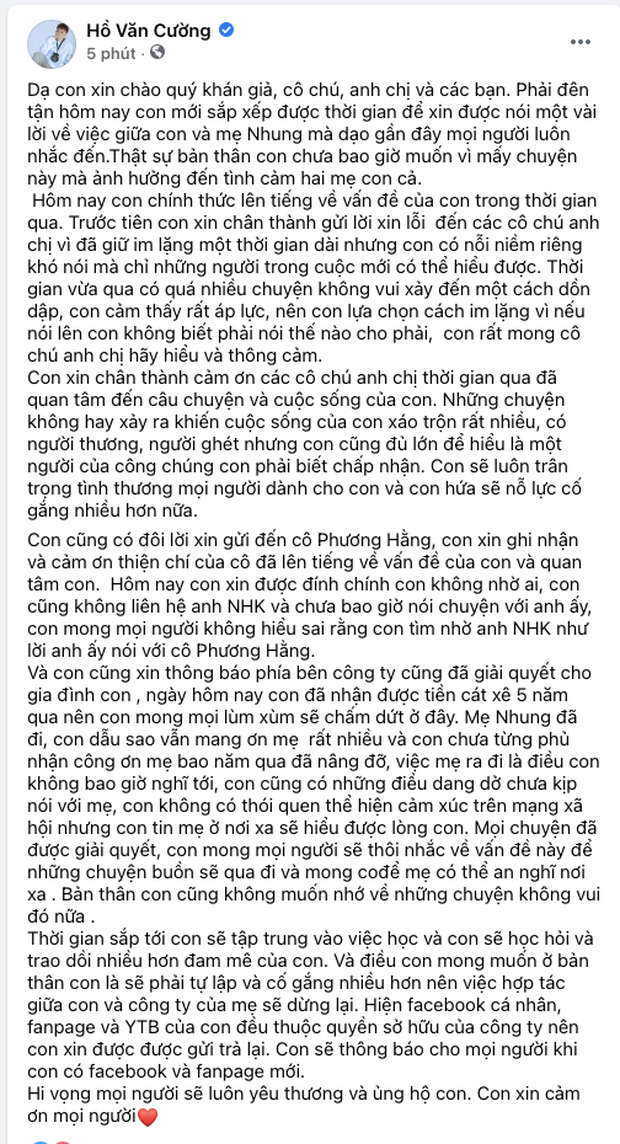 Hồ Văn Cường chính thức dừng hợp tác với công ty Phi Nhung, thông báo hoàn trả lại Fanpage và kênh YouTube - Ảnh 1.