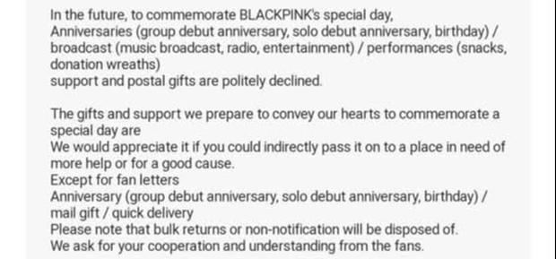 Từ hôm nay, fan đừng gửi quà cho BLACKPINK nữa! - Ảnh 2.